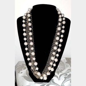 VTG Multi-Strand Faux Pearls & goldtone Necklace